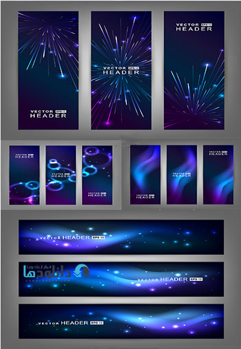 Abstract Shiny Space Banner  دانلود تصاویر وکتور  Abstract Shiny Space Banner