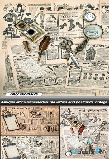 Antique-office-accessories-old-letters-and-postcards-vintage-Vector