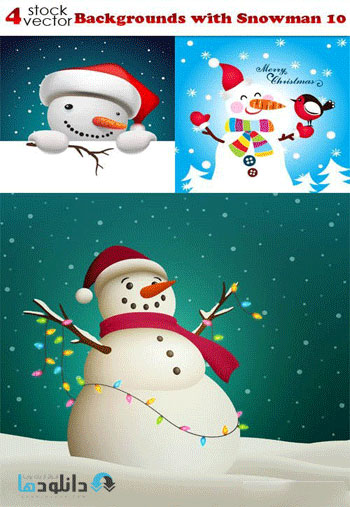 Backgrounds with Snowman 10 Vector  دانلود مجموعه وکتور Backgrounds with Snowman
