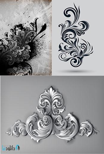 Beautiful background with ornaments دانلود 25 وکتور عناصر تزئینی گلدار و بت و جقه چرخشی  Decorative Vector Swirls