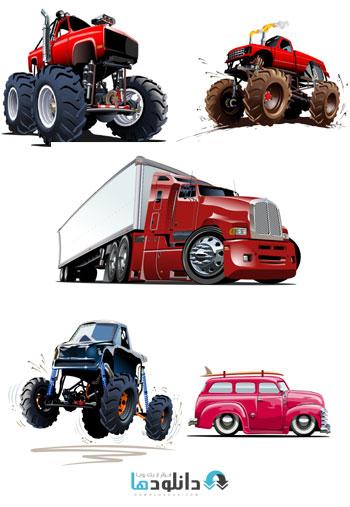 Cartoon Cars Trucks And Exc  دانلود تصاویر وکتور  Cartoon Cars Trucks And Excavators