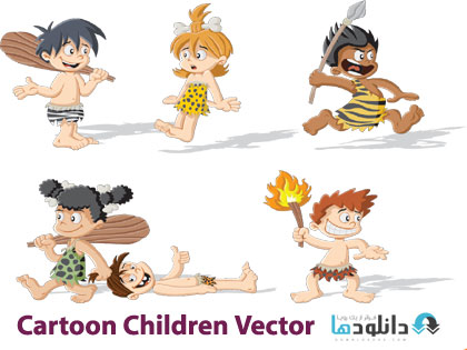 Cartoon Children Vector  دانلود تصاویر وکتور  Cartoon Children Vector