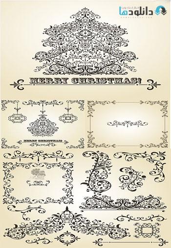 Christmas Decorative Design Elements  دانلود تصاویر وکتور  Christmas Decorative Design Elements