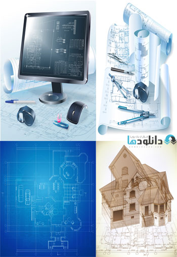 Construction Projects And T  دانلود تصاویر وکتور  Construction Projects And Technical Drawings
