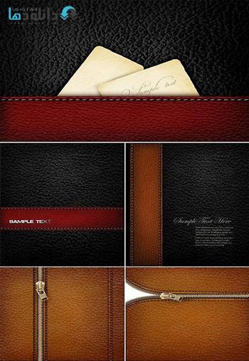 Dark Leather Textures Vector  دانلود تصاویر وکتور  Dark Leather Textures Vector
