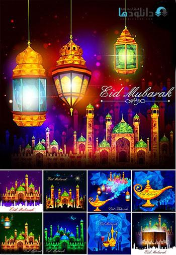 Eid Mubarak Background Vect  دانلود تصاویر وکتور  Eid Mubarak Background