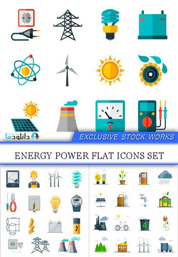 Energy Power Flat Icons  دانلود مجموعه آیکون Energy Power Flat
