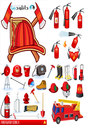 Firefighters In Vector From  دانلود تصاویر وکتور  Firefighters In Vector From Stock
