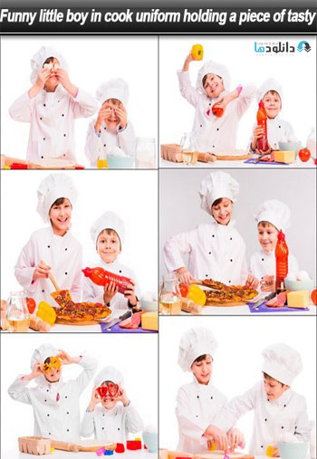 Funny-little-boy-in-cook-uniform-holding-a-piece-of-tasty