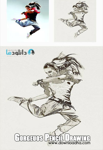 Gorgeuos Pencil Drawing Pho دانلود اکشن فتوشاپ  Gorgeuos Pencil Drawing Photoshop Action