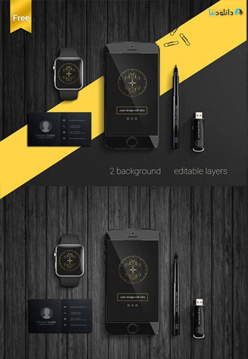 IPhone-Watch-And-Branding-Mockup