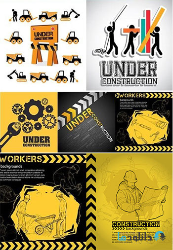 Illustration-Of-Workers-Under-Construction-Background-Vector