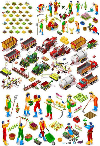 Isometric-Farm-Vehicle-and-Farmer-People