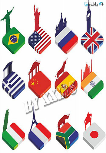 Isometric-world-flags