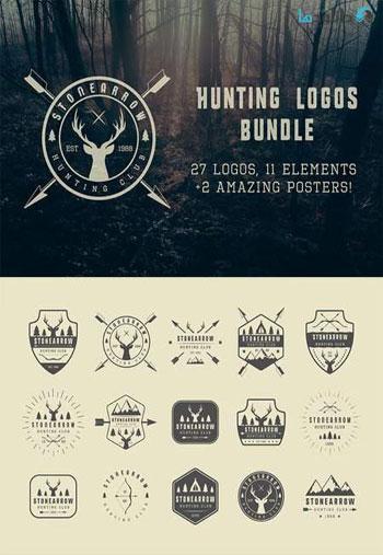 Set-of-vintage-hunting-logo