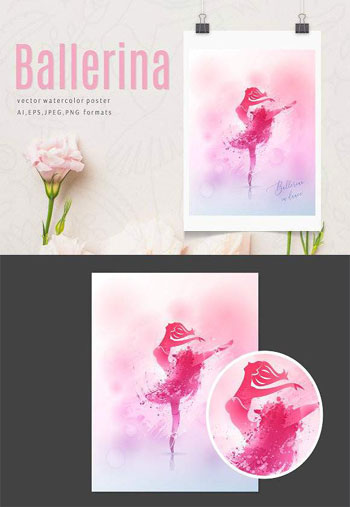 Watercolor-poster-Ballerina