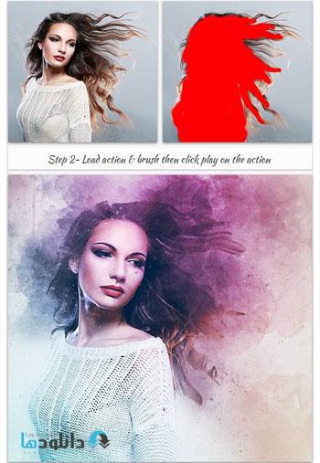 Modern Watercolor Art دانلود اکشن فتوشاپ  Modern Watercolor Art Photoshop Action