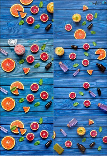 Organic-cosmetic-with-citrus-on-blue-background-top-view