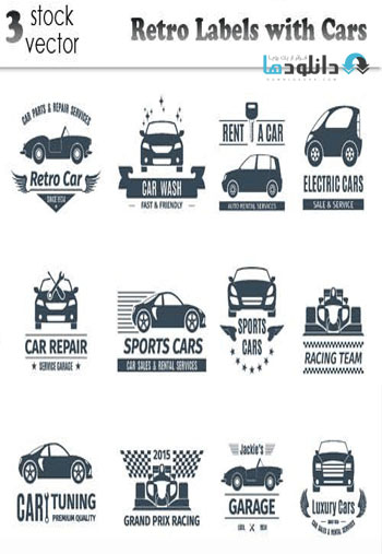 Retro-Labels-with-Cars-Vector