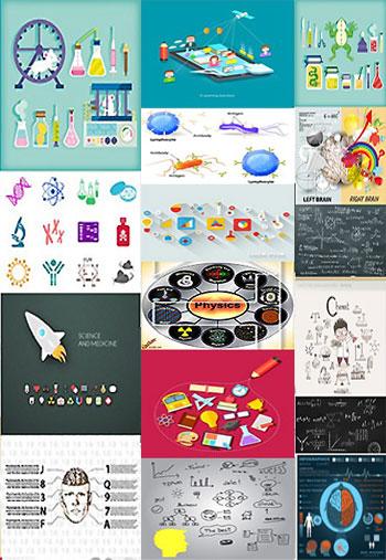 Science, Medicine, Chemistr دانلود تصاویر وکتور Science, Medicine, Chemistry, Dna, Physics