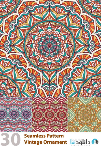 Seamless Pattern Vintage Or  دانلود تصاویر وکتور  Seamless Pattern Vintage Ornament Decorative Elements Vector