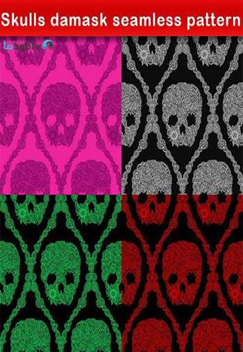 Skulls-damask-seamless-pattern