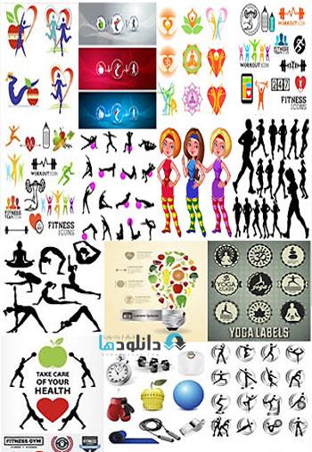 Sport Fitness And Yoga  دانلود تصاویر وکتور  Sport Fitness And Yoga