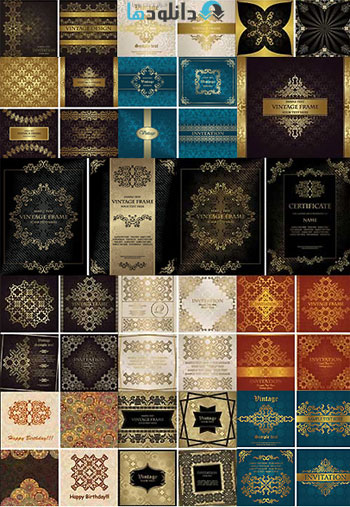 Vector Set Of Elegant Vinta  دانلود تصاویر وکتور  Vector Set Of Elegant Vintage Background