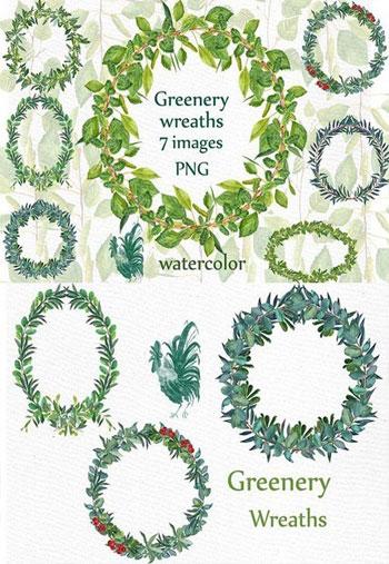 Watercolor-Fern-Wreaths-clipart