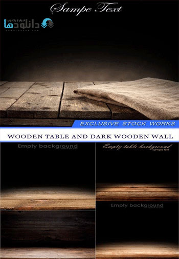 Wooden table and dark wooden wall Vector  دانلود مجموعه وکتور Wooden table and dark wooden wall