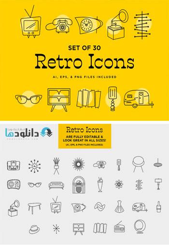 مجموعه-آیکون-retro-logo-and-icon