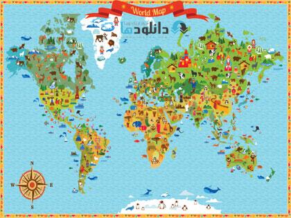 world map  دانلود تصاویر وکتور نقشه جهان به همراه بیش از 100 آیکون متنوع