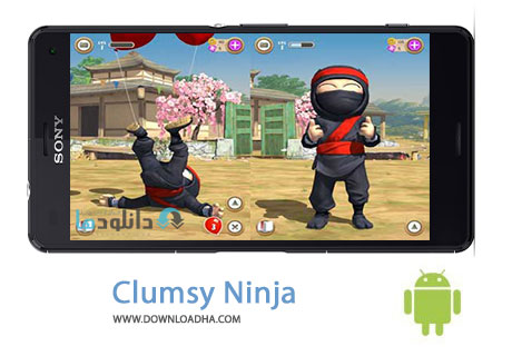 Clumsy Ninja Cover%28Downloadha.com%29 دانلود بازی مهیج نینجای دست و پا چلفتی Clumsy Ninja 1.22.1 برای اندروید
