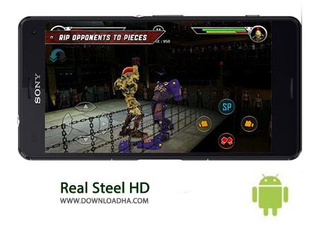 Real Steel HD Cover%28Downloadha.com%29 دانلود بازی اکشن و مهیج فولاد واقعی Real Steel HD 1.26.9 برای اندروید