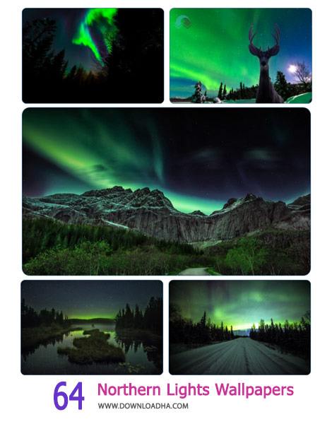 64 Northern Lights Wallpapers Cover%28Downloadha.com%29 دانلود مجموعه 64 والپیپر از شفق شمالی