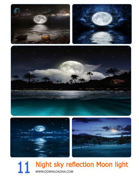 11 Night sky reflection Moon light Cover%28Downloadha.com%29 دانلود مجموعه 11 والپیپر شب مهتابی