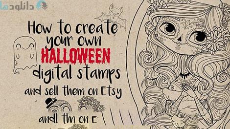 How to make your own Halloween digital stamps Cover%28Downloadha.com%29 دانلود فيلم آموزش ساخت استمپ هاي ديجيتالي هالووين