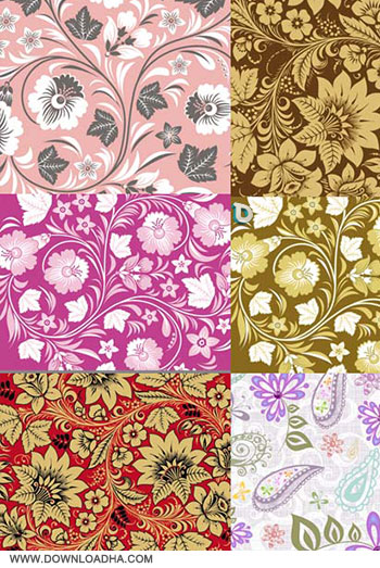 Flower Patterns Vector Set وکتور گل و بوته Flower Patterns Vector