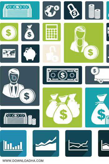 Money Flat Icons 2 cector مجموعه آیکون های اسکانس و سکه در قالب فایل TIFF