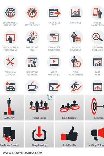 Seo Flat Icons وکتور آیکون های سئو Seo Flat Icons