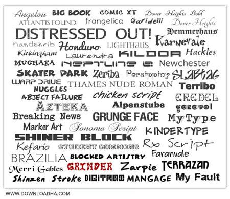 56 Beautiful Fonts مجموعه 56 فونت انگلیسی برای طراحی Fonts Family for Designers