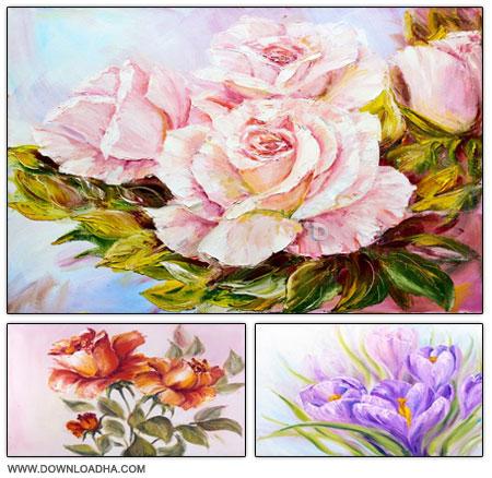 مجموعه ۶ تصویر استوک نقاشی روغنی گل ها Oil Painted Flowers
