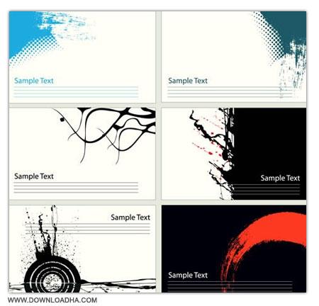 Grunge Cards Mix مجموعه 2 وکتور کارت ویزیت های آماده Grunge Cards Mix