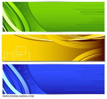 Shiny Colorful Banners مجموعه ۳ وکتور رنگارنگ پس زمینه Colorful Backgrounds