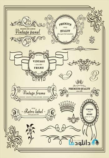 Calligraphic.Design.Element  دانلود مجموعه تصاویر وکتور  Calligraphic Design Elements For Page Decorations