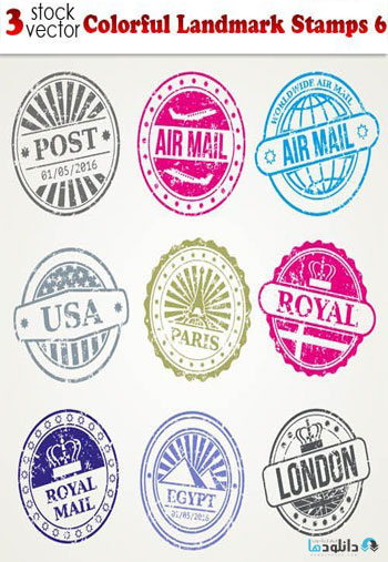 Colorful-Landmark-Stamps