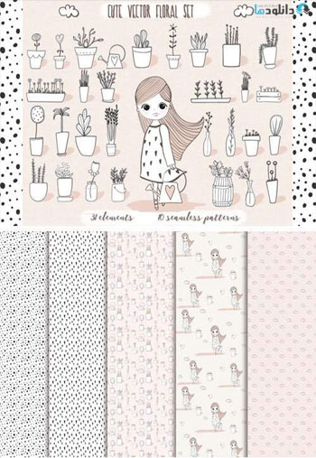 Cute-Vector-Pots-and-Pattern