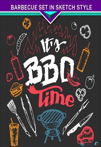 Barbecue-set-in-sketch-styl