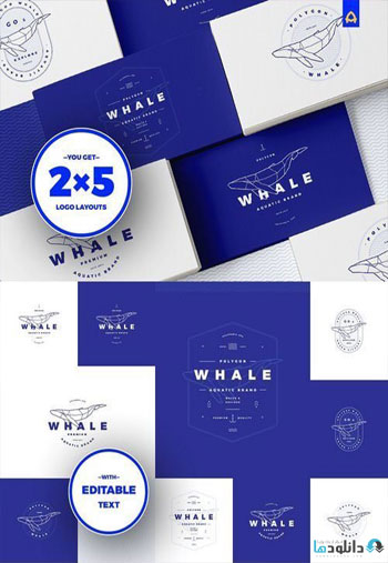 Polygonal-Whale-Logo-Set