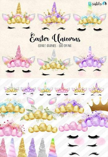 Easter-Unicorn-Faces-clipar